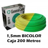 Cable Flexible 1.5MM Bicolor Tierra (CAJA 200 Metros)