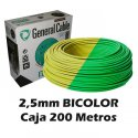 Cable Flexible 2.5mm Bicolor Tierra (CAJA 200 Metros)